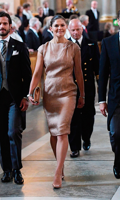 Crown Princess Victoria of Sweden donned a simple silk dress for baby nephew Prince Gabriel's Te Deum ceremony at the Royal Chapel in Stockholm on September 4. 