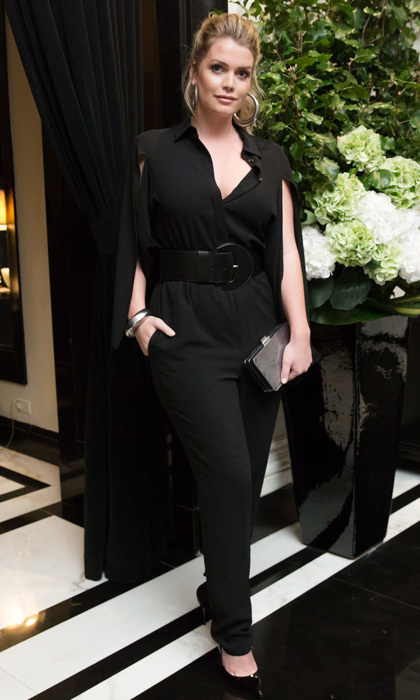 Lady Kitty Spencer opted for a Michael Kors Collection black silk-georgette jumpsuit to Town & Country's 50 New Modern Swans party in NYC.