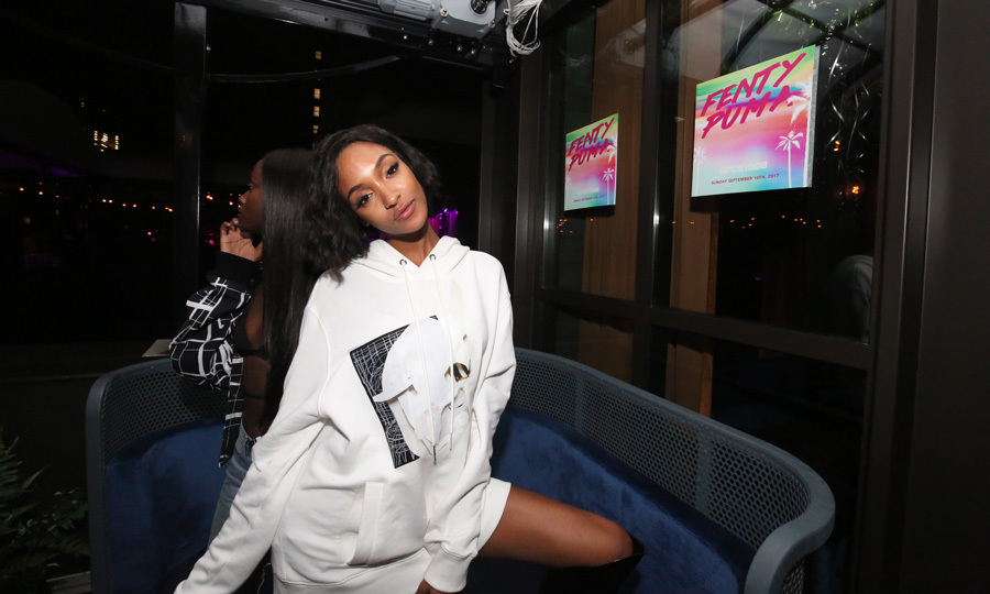 Jourdan Dunn listened to Swizz Beatz perform at the Fenty x Puma after party at Magic Hour Rooftop Bar & Lounge at the soon-to-open Moxy Times Square. The supermodel was joined by Sofia Richie, Scott Disick, the lady-of-the-hour Rihanna and more at the party.
