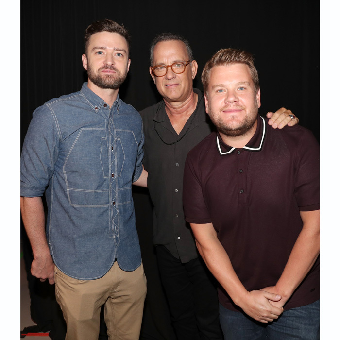 "Justin Timberlake, Tom Hanks and James Corden came together for the EIF Presents: XQ Super School Live in L.A. The <i>Big</i> star closed the night with this impassioned speech: ""In America, we know that one small step can become a walk on the moon. We know that one simple act of sitting on a bus can inspire an entire movement. We know that two hundred seventy-two words on a hill in Gettysburg can help heal a nation. We take problems and raise our hands to solve them. That's what we do. That's who we are. So tonight, let's take that one small step to reshape our education system in this country. Because when we're good, we're great."" 
