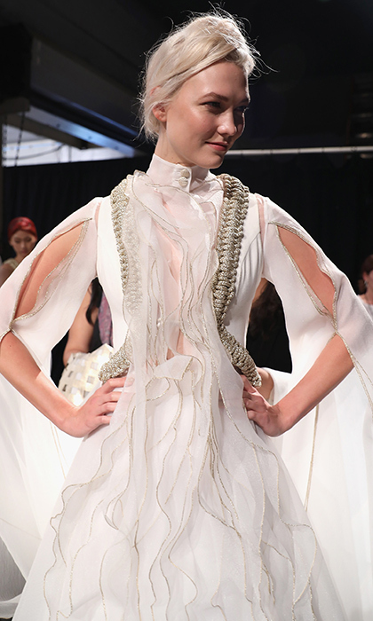 Supermodel Karlie Kloss looked like a true angel backstage at John Paul Ataker.