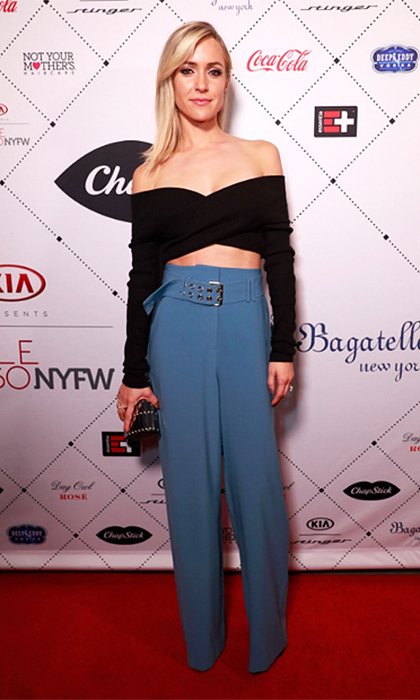 Kristin Cavallari was chic in a cropped sweater and wide-legged trousers as she celebrated at the Kia STYLE360 Uncommon James + Chinese Laundry by Kristin Cavallari party at Bagatelle NYC, presented by ChapStick.
