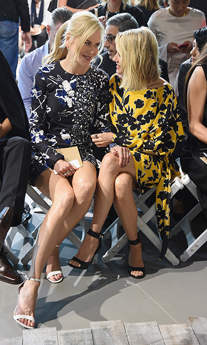 Dressed in contrasting prints and strappy sandals, BFFs Nicole Kidman and Naomi Watts got caught up in the front row at Michael Kors. 