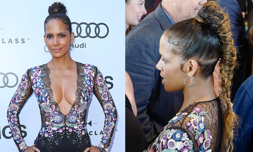 Style chameleon Halle Berry rocked a cool braided ponytail created by her hairstylist Castillo Bataille at the <I>Kings</I> premiere, hosted by World Class and Audi at Bisha Hotel Toronto, on September 13.