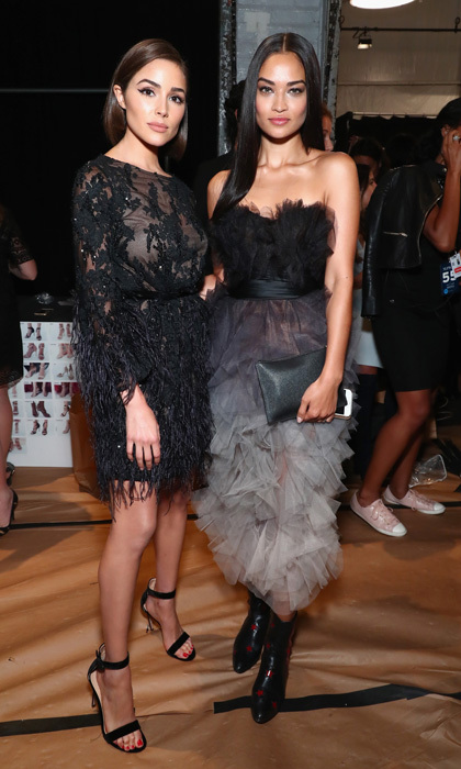 Olivia Culpo and Shanina Shaik showed off their Marchesa frocks front row at the label's show.