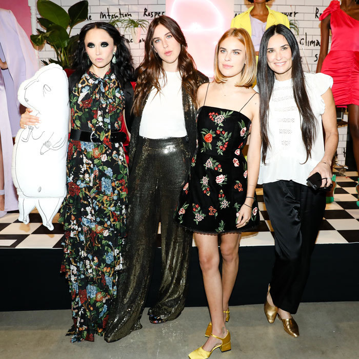 Demi Moore with daughters Scout and Tallulah Willis supported designer Stacey Bendet at her Alice & Olivia presentation.