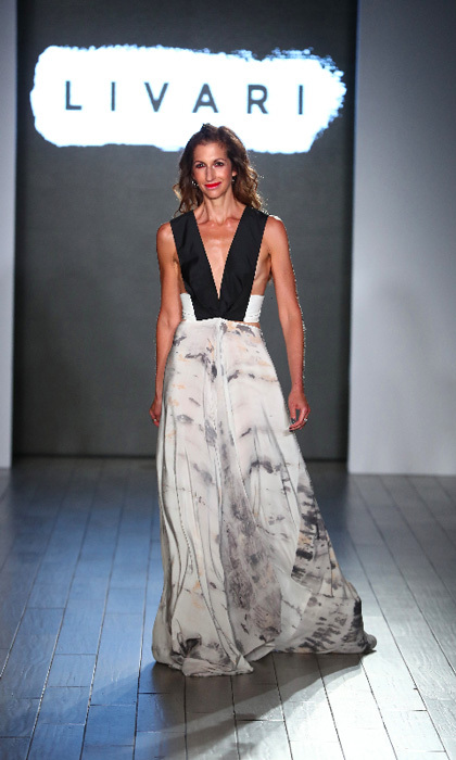 <i>Orange is the New Black</i> star Alysia Reiner strutted her stuff down the Livari runway. The brand is the vision of the actress along with celebrity stylist Claudine DeSola and Tabitha St. Bernard-Jacobs , who organized the Women's March.