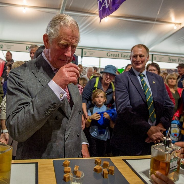 Prince Charles got a taste of the wares sold at the Mint Drinks Co stall at the Westmorland County Show on September 14 in Milnthorpe, England. 
