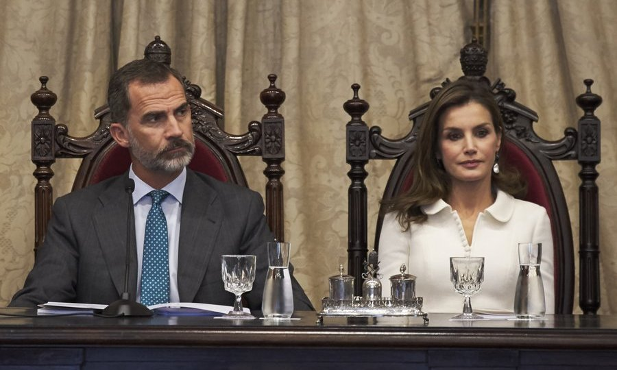 King Felipe VI and Queen Letizia of Spain looked regal seated in antique chairs at the opening of the college year at Salamanca University on September 14. 