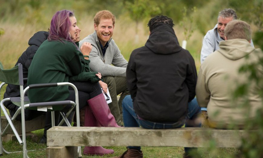 Prince Harry chatted with recent graduates from the Wilderness Foundation's TurnAround programme during his visit to Chatham Green Project, a conservation, education and sustainability initiative in Chatham Green, north-east of London, on September 14.