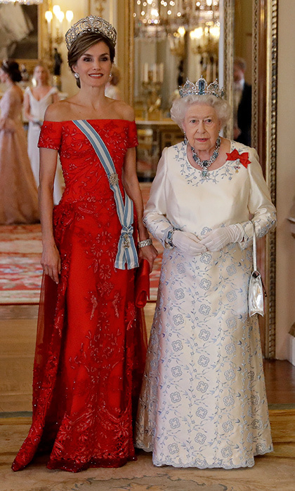 For a Buckingham Palace state banquet in 2017, the Spanish queen donned a red gown by her go-to designer Felipe Varela.