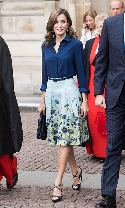 Also while in London in July 2017, Queen Letizia recycled a favorite Carolina Herrera New York skirt, which she paired with Magrit sandals.