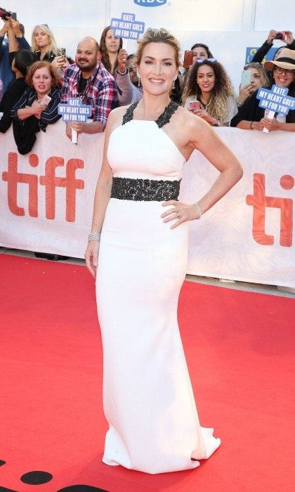 Kate Winslet wore a custom Badgley Mischka gown to the Toronto International Film Festival.