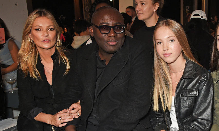 <I>British Vogue</I> editor-in-chief Edward Enninful was flanked by two beauties – Kate Moss and her 14-year-old daughter Lila Grace Moss Hack – at Topshop's show on September 17. 