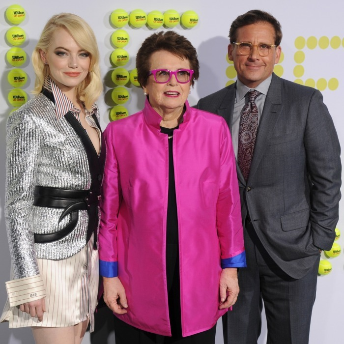 <i>Battle of the Sexes</i> stars Emma Stone and Steve Carell posed with the real-life tennis champ their film spotlights: Billie Jean King. The threesome walked the carpet together at the premiere of their film at Regency Village Theatre on September 16.
