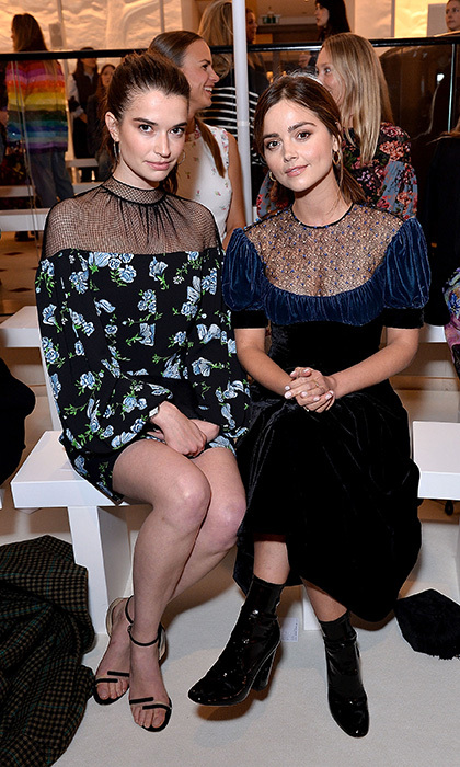 <I>Victoria</I> actresses Margaret Clunie, left, and Jenna Coleman attended the Emilia Wickstead presentation.