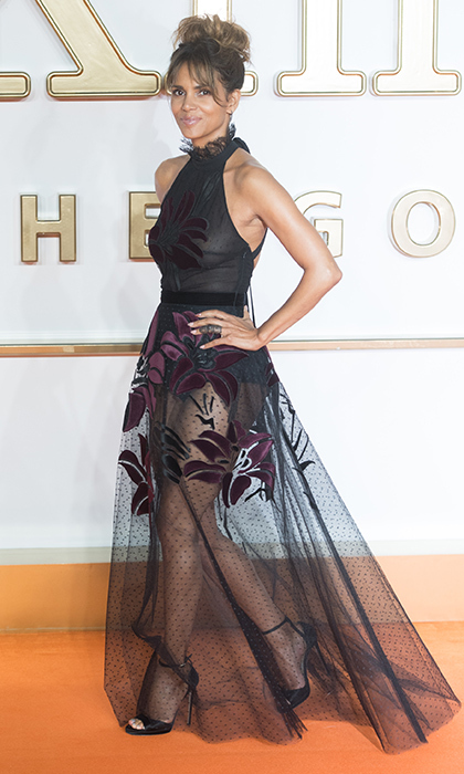 Halle Berry slayed on the red carpet during the <i>Kingsman: The Golden Circle</i> premiere in London on September 18. The actress wore an Elie Saab dress and Joelle jewels.