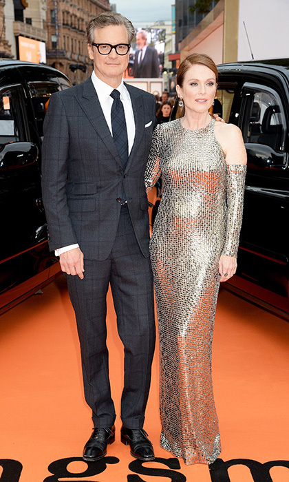 Colin Firth and Julianne Moore, who co-starred in <I>A Single Man</I>, looked stylish on the red carpet at the <I>Kingsman</I>'s debut. 