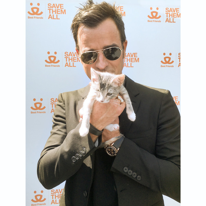 Justin Theroux had quite the adorable date to the <i>LEGO Ninjago Movie</i> premiere where a cat and kitten adoption booth was presented by Best Friends Animal Society and the Stray Cat Alliance in Westwood, California.
