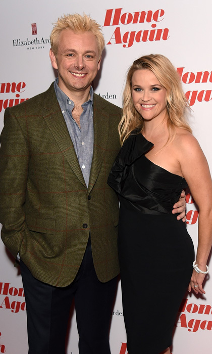 Michael Sheen showed off a platinum-look alongside Reese Witherspoon at the London premiere of <i>Home Again</i>.