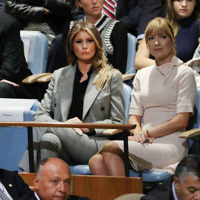 The first lady listened intently as her husband spoke to world leaders at the 72nd United Nations General Assembly in New York City. Melania looked business chic wearing a power suit by Calvin Klein.