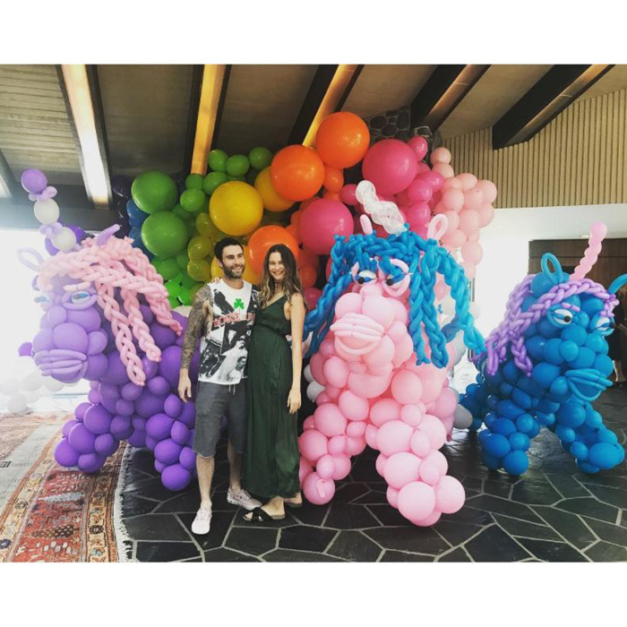 "Behati Prinsloo and Adam Levine celebrated their daughter Dusty Rose's first birthday with quite the bash. The Victoria's Secret model took to Instagram to share the oversized balloons. ""We made it once around the sun....☀️ @adamlevine Not sure who enjoyed these wise old unicorns more, me or the kids. Thank you @johnalfordballoons 濾""