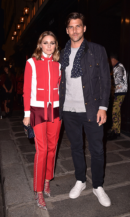 Olivia Palermo and Johannes Huebl opted for sporty chic at the Valentino #ILoveSpike Cocktail at Paris Fashion Week.
