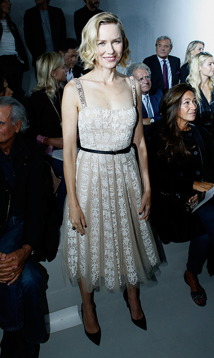 Naomi Watts opted for ladylike lace in the FROW at Dior. 