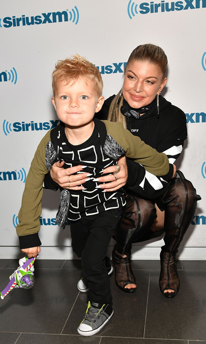 Fergie and Josh Duhamel's son Axl was front and center during his mom's visit to SiriusXM where she spoke about her new album <i>Double Dutchess</i> in September 2017.