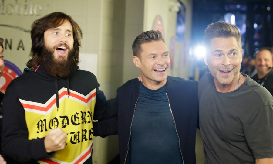 The three amigos! Jared Leto, Ryan Seacrest and Rob Lowe  hung out backstage during the 2017 iHeartRadio Music Festival at T-Mobile Arena in Las Vegas.