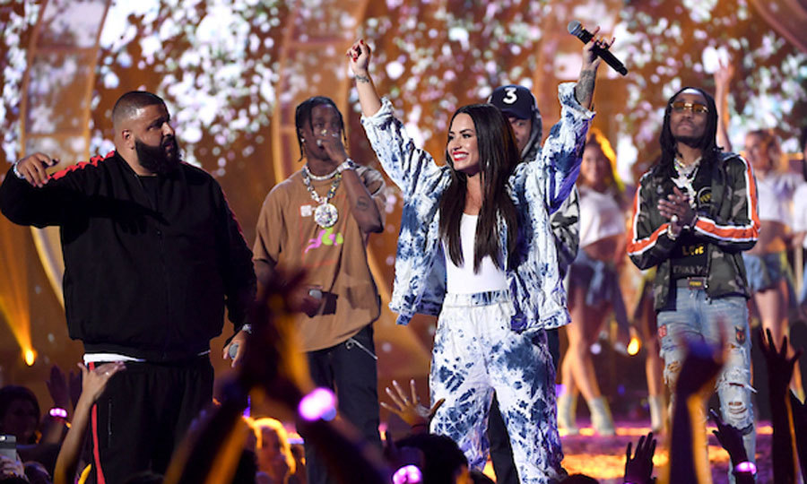 Demi Lovato certainly heated up the iHeartRadio Music Festival with DJ Khaled, Travis Scott, Chance the Rapper, and Quavo in Las Vegas.