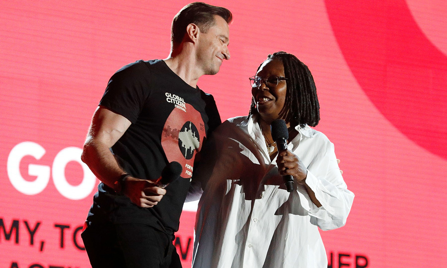 Hugh Jackman and Whoopi Goldberg had some fun onstage during the 2017 Global Citizen Festival in New York. A number of stars took the stage including Stevie Wonder, Green Day, The Killers, The Lumineers and The Chainsmokers.
