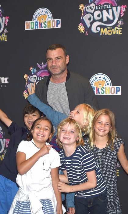 Liev Schreiber had his hands full with his sons Alexander, Samuel and their friends at the <i>My Little Pony</i> screening in NYC on September 24.