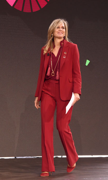 Queen Maxima of the Netherlands was a stand out in a red pantsuit during the Goalkeepers 2017 conference at the UN in NYC.