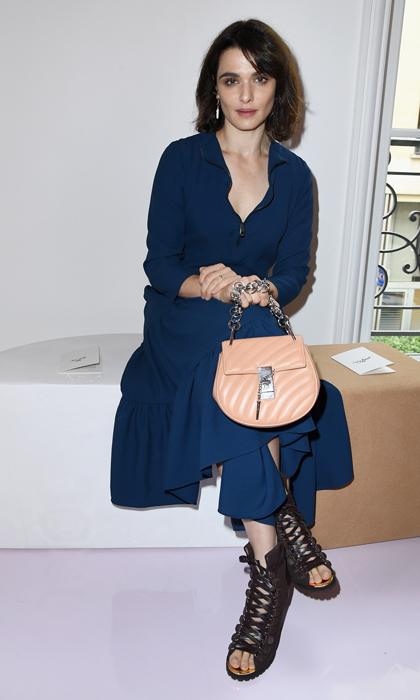 Rachel Weisz was pretty in blue during the Chloe presentation.