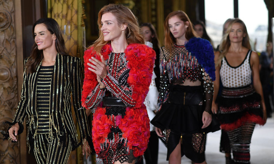 Alessandra Ambrosio and Natalia Vodianova wore the patterned-Balmain looks during the show.