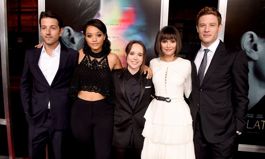The cast of <I>Flatliners</I> – Diego Luna, Kiersey Clemons, Ellen Page, Nina Dobrev and James Norton – were a perfect match for one another in monochrome at the premiere of the film, which is a sequel to the 1990 thriller, at the Ace Theatre on September 27 in L.A.
