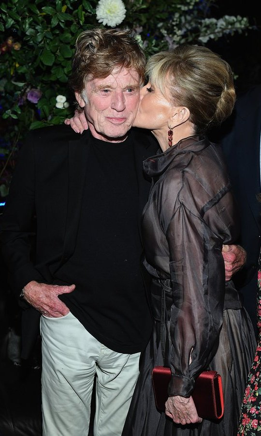 Jane Fonda kissed fellow movie legend Robert Redford at the Netflix Hosts The New York Premiere Of <I>Our Souls At Night</I> at at The Oak Room on September 27. 