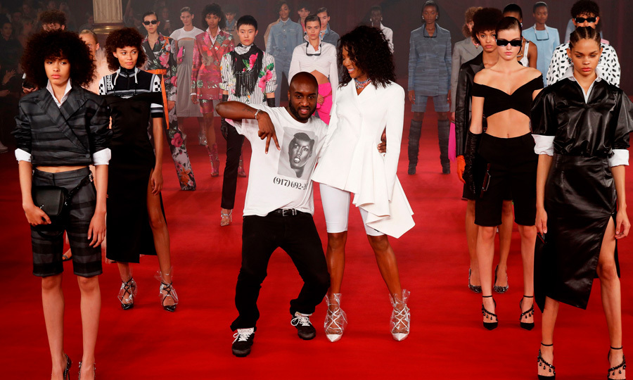 Naomi Campbell stood next to Off/White creator Virgil Abloh at his Princess Diana-inspired runway show in Paris. Models on the runway also wore Jimmy Choo shoes that paired with his vision honoring the late British royal.