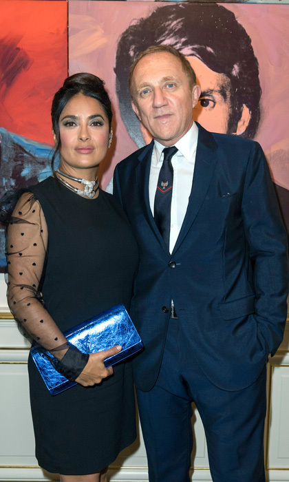 Salma Hayek gave off <i>Breakfast at Tiffany</i> vibes in a little black dress while attending the opening party of the Yves Saint Laurent Museum with Francois-Henri Pinault.