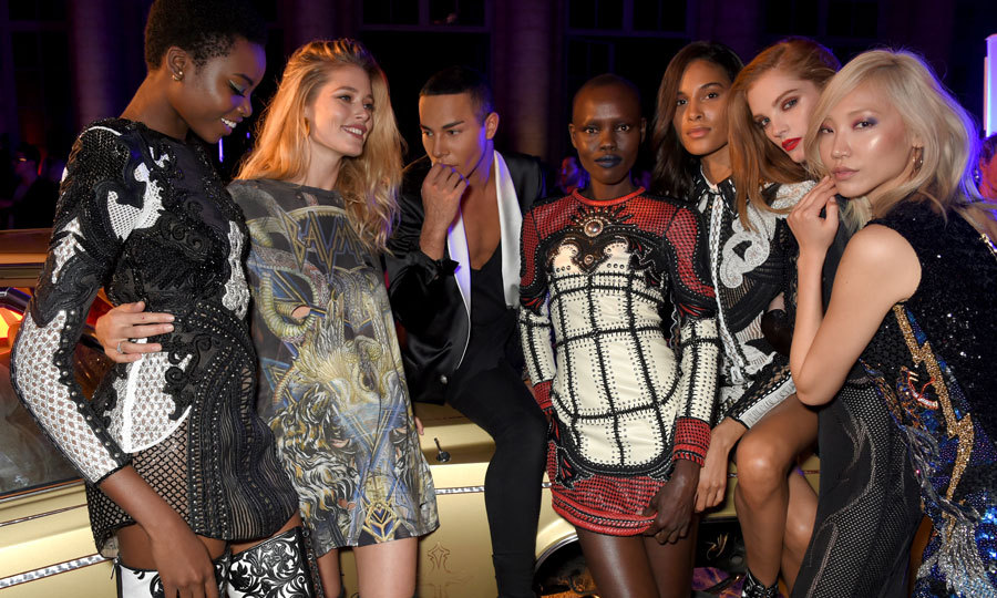 Maria Borges, Doutzen Kroes, Balmain's Olivier Rousteing, Grace Bol, Cindy Bruna, Alexina Graham and Soo Joo Park celebrated the designer's lipstick collaboration with L'Oreal Paris.