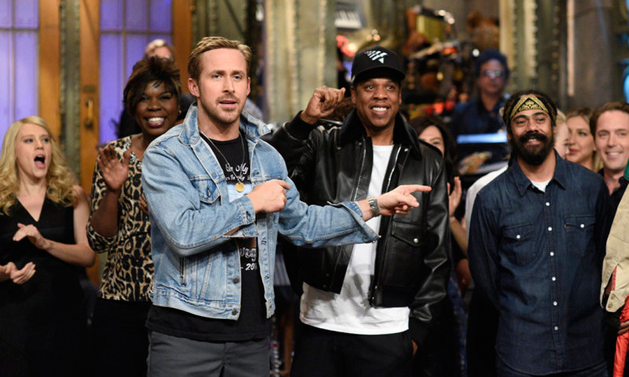 Ryan Gosling and Jay-Z kicked off the <i>Saturday Night Live</i> season with hosting and musical duties. For his opening monologue, the <i>La La Land</i> star brought out his co-star Emma Stone to reprise their famed roles.