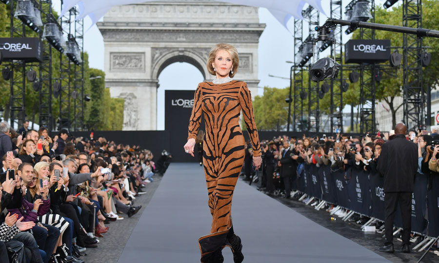 Jane Fonda stepped off the red carpet and onto the runway in Balmain for the Le Defile L'Oreal Paris.