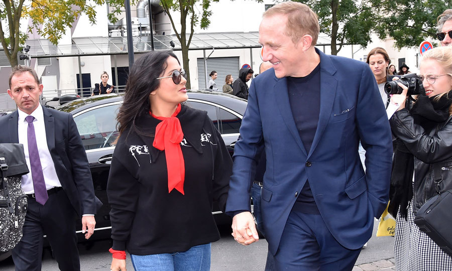 Salma Hayek and Francois-Henri Pinault had eyes only for each other as they made their way into the Balenciaga show.