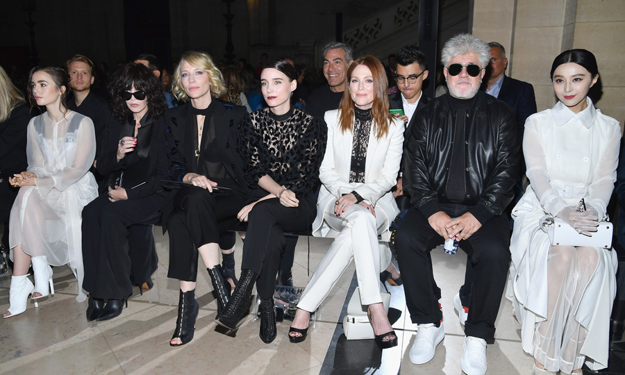 Lily Collins, Isabelle Adjani, Cate Blanchett, Rooney Mara, Julianne Moore, Pedro Almodóvar and Fan Bingbing were quite the coordinated group at Givenchy.