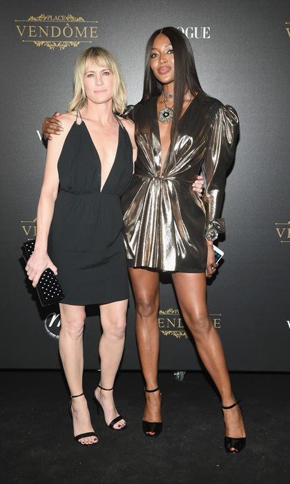 Robin Wright and Naomi Campbell both attended the Vogue party at Le Petit Palais.