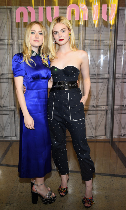 Sister, sister! Dakota and Elle Fanning made a stylish pair at the Miu Miu presentation.