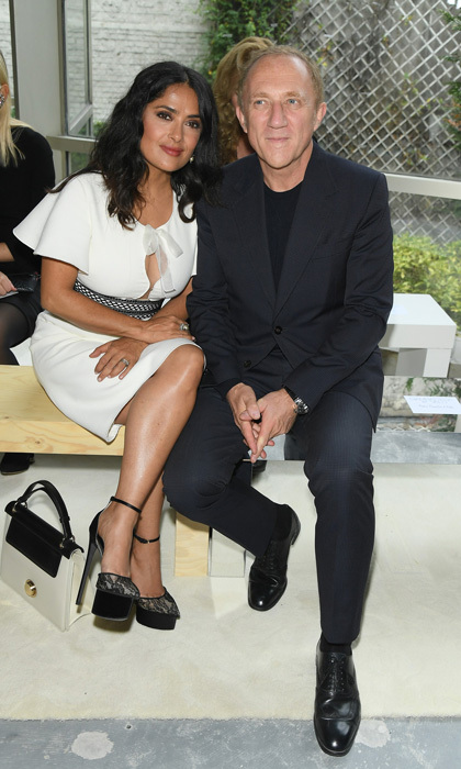 Salma Hayek and François-Henri Pinault were front row lovers at the Giambattista Valli presentation.