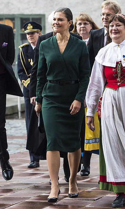 "The rain certainly didn't dampen her mood – or her style – as <a href=""http://us.hellomagazine.com/tags/1/crown-princess-victoria/"">Crown Princess Victoria of Sweden</a> stepped out to attend the opening of the Swedish Church meetings at Uppsala Cathedral.