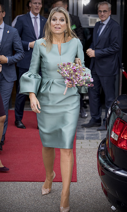 "All eyes were on <a href=""http://us.hellomagazine.com/tags/1/queen-maxima/"">Queen Maxima of the Netherlands</a> as she stepped out in her role as honorary chairwoman of the King Willem I foundation on October 3. The Dutch queen had dressed to impress in a  turquoise statement dress with bell sleeves and nude pumps.